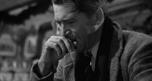 "George Bailey crying in ""It's a wonderful life"" movie."