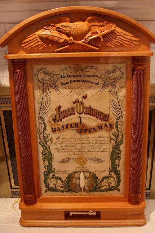 jake weidmann master penman certificate diploma