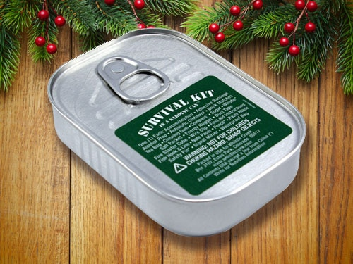 Survival Kit in a sardine silver can.