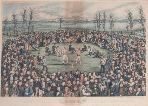 men boxing in outdoor ring vintage painting 1800s