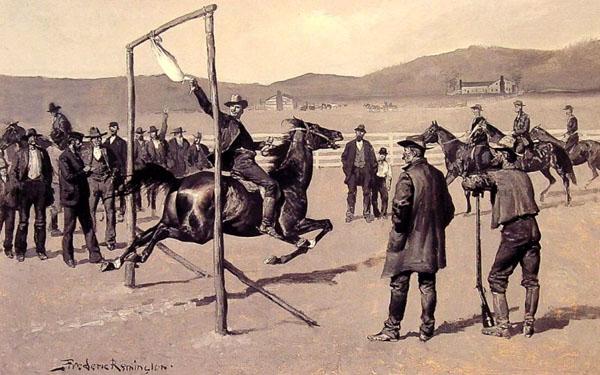 1800s gander pull sport man on horse illustration