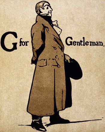 G for gentleman wearing long overcoat illustration.