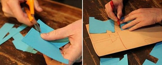 homemade diy leather wallet cutting out plans templates