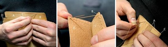 Stitching and designing of leather wallet.