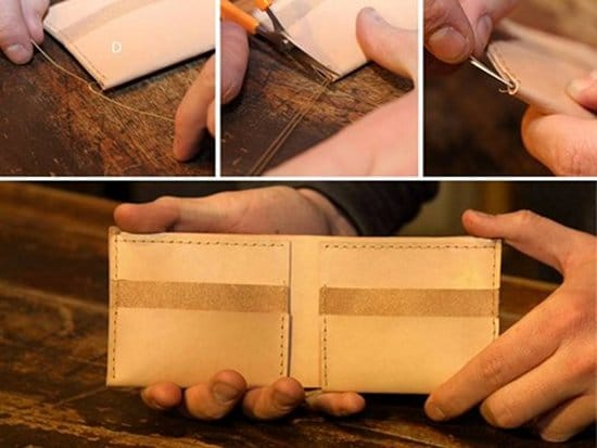 Finishing touch for making home made wallet.