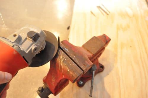Cut the nails to length with my angle grinder.