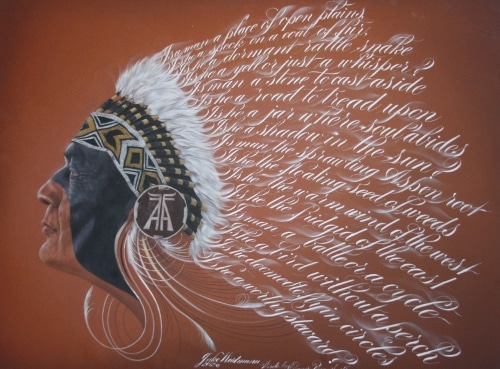 American native Indian chief's artwork by Master Penman Jake Weidmann.
