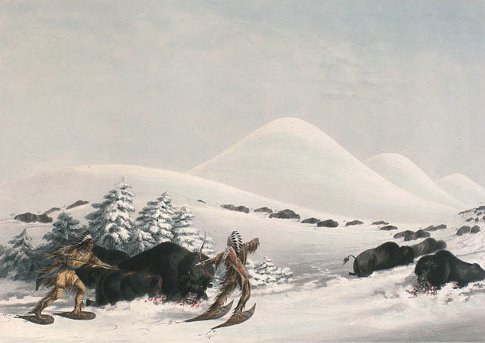 Native Americans Indians hunting buffalo winter snowshoes painting.