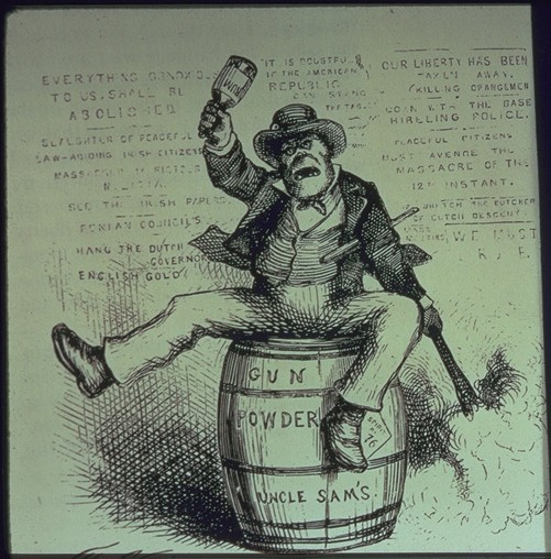 1800s vintage cartoon irish man ape sitting on gun powder barrel