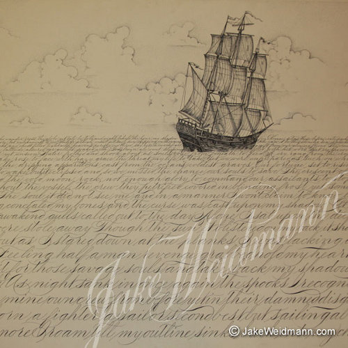 Master Penman Jake Weidmann artwork about ship in the sea.