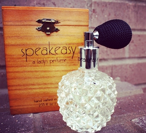 speakeasy lady's women's perfume bottle and wooden box