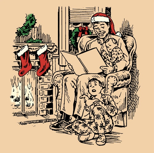 Dad in santa hat reading story to kids in pajamas illustration.