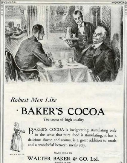 Vintage Baker's cocoa hot chocolate advertisement.