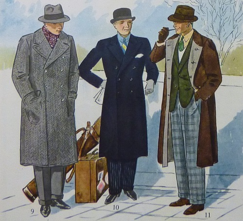 Types of overcoats vintage advertisement illustration.