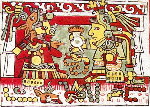 Illustration ancient Indian Mesoamerican codex hot chocolate cocoa.