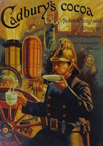 vintage cadbury's cocoa ad advertisement fireman drinking