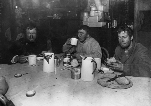 Aspley Cherry Garaged south pole expedition drinking hot chocolate.