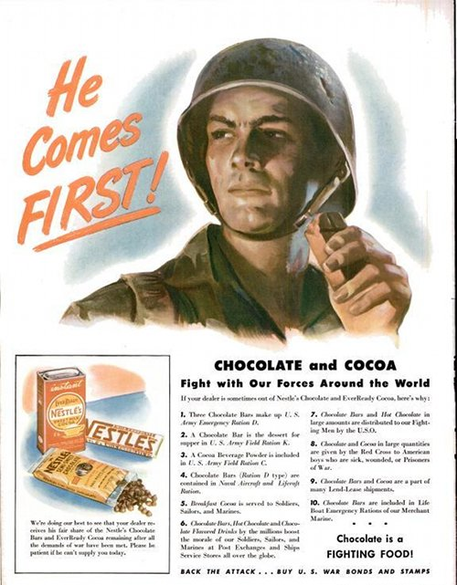 Vintage military advertisement hot chocolate cocoa.