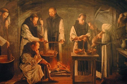 Vintage Jesuit priests making hot chocolate cocoa over fire.
