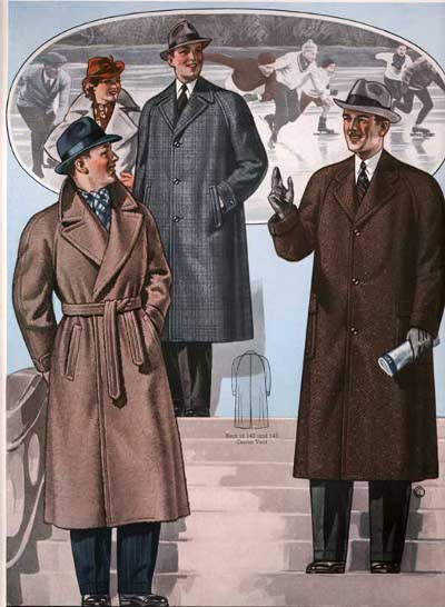 Vintage overcoat advertisement illustration.
