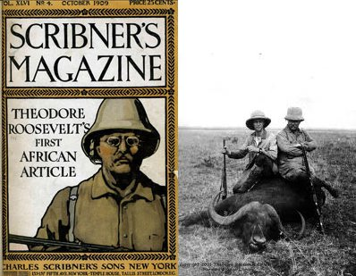 Theodore Roosevelt hunting posing with dead water buffalo.