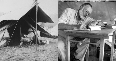 Roosevelt Hemingway writing in the outdoors in tents.