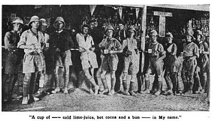 vintage ymca canteen in Egypt group of soldiers posing