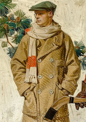 vintage illustration young man wearing wool flat cap
