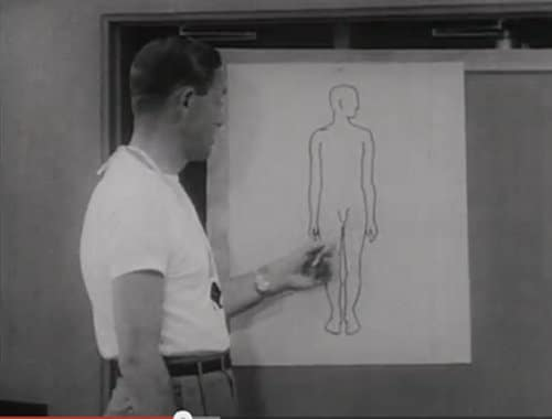vintage gym health teacher pointing out male anatomy on blackboard