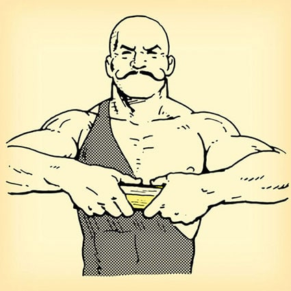 old time strongman with phone book in hands illustration