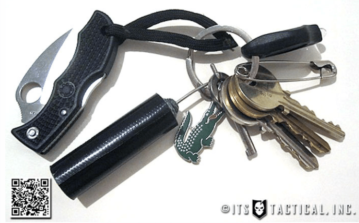 edc keychain pocket knife safety pin duct tape roll