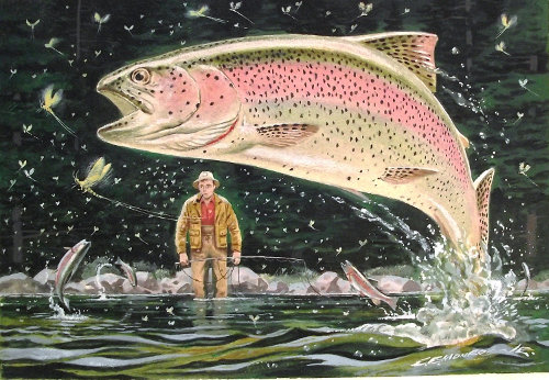 C.E. Monroe trout jumping out of water fisherman behind