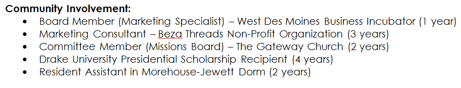 resume professional organizations