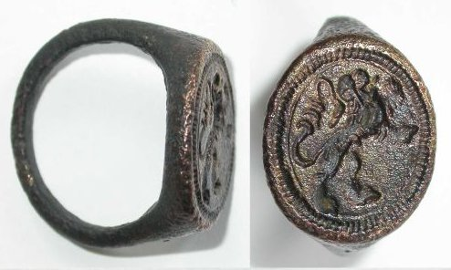 ancient signet ring for pressing wax seal signature