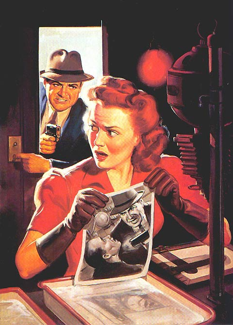 Norm Saunders painting detective catching criminal
