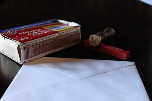supplies for creating wax seal for envelope stamp matches