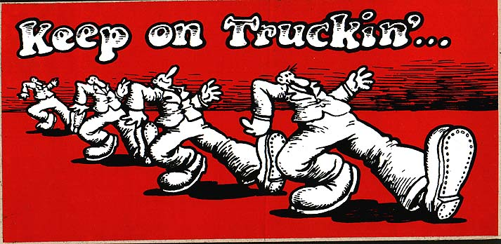 keep on truckin painting print 1970s big foot