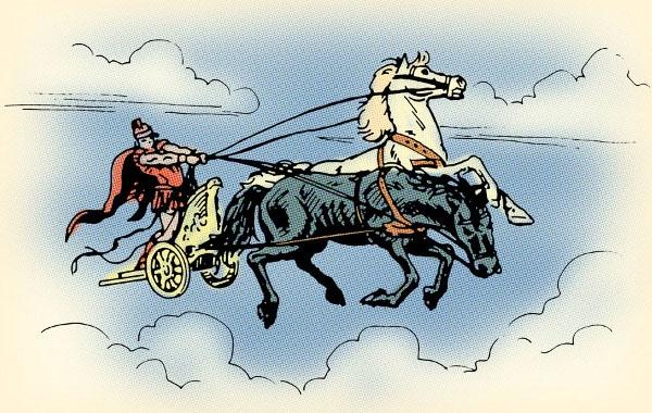 illustration phaedrus allegory of chariot black white horses thumos
