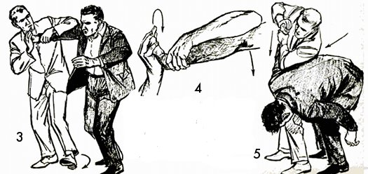 Vintage self defense illustration businessman arm lock.