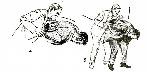 When his right arm is twisted almost as far back as it will go, slip your left hand under his right wrist (fig. 4)