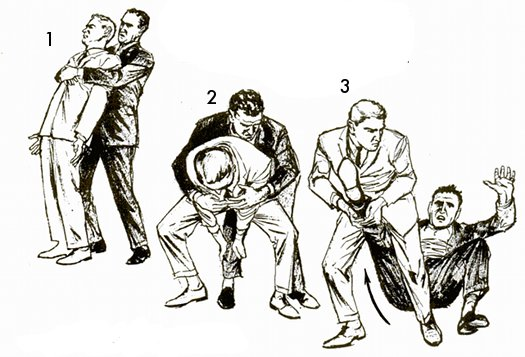 Vintage self defense illustration businessman break bear hug.