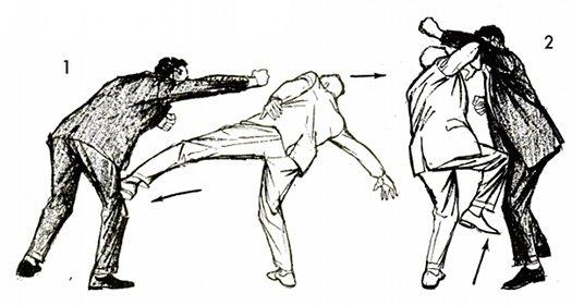 vintage self defense illustration businessman defend boxer
