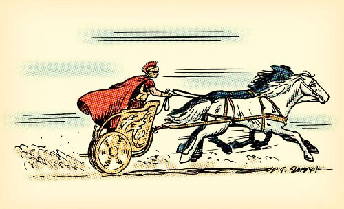 Illustration of chariot race Roman man pushing on white and black horses.