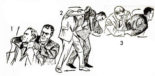 Vintage self defense illustration businessman break from choking.