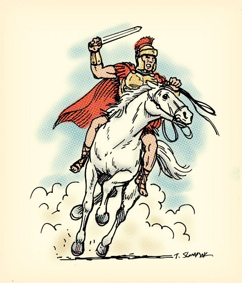 illustration ancient roman warrior on white horse with sword