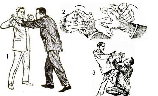 Vintage self defense illustration businessman finger lock.
