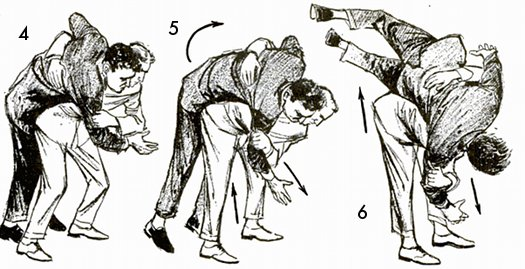 Keep your knees bent slightly, maintain a steady pull on the attacker's slleve, and keep your right hand in the small of his back (img. 4). Straightening your legs will now raise his feet off the ground (img. 5). Your opponent is now balanced on your right hip, and you can toss him by turning him over as you continue to pull on his right sleeve (img. 6).