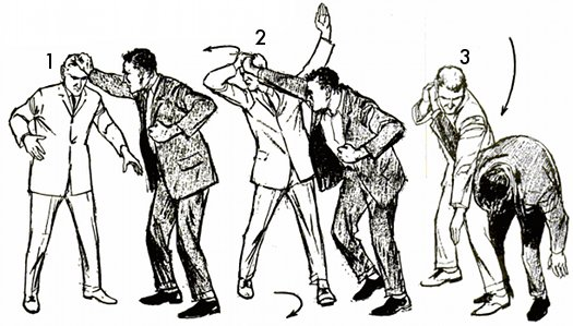 Vintage self defense illustration businessman hair grab.