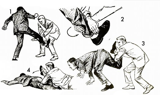 Vintage self defense illustration businessman defend against kick.