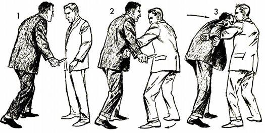 vintage self defense illustration businessman defend against knife